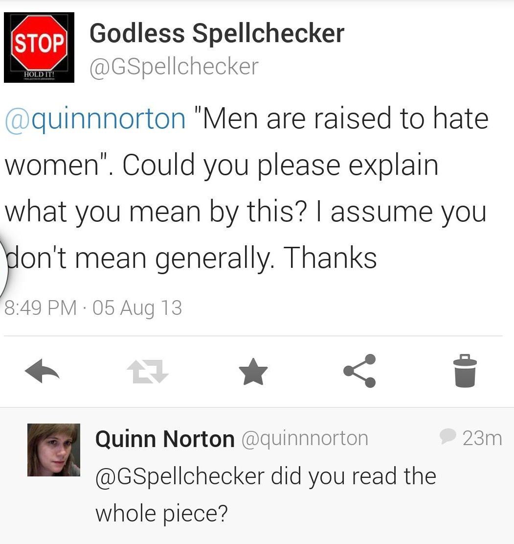 """Quinn Norton: Trolling, """"Men Are Raised To Hate Women"""" and"""